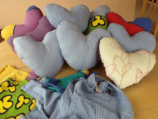 Pillows and bags made by Leigh-on-Mendip WI
