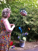 Gail created fantastic pots of yarnbombing delight!