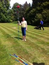 Karen models the lastest fashion in pompom poles...